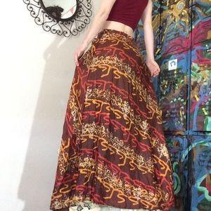 Vintage Skirts - Vintage Zinat Sara Iran Tye Dye SILK Maxi Skirt